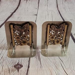 Metzke Pewter Metal Butterfly Bookends 1980